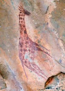 Rock painting of Giraffe
