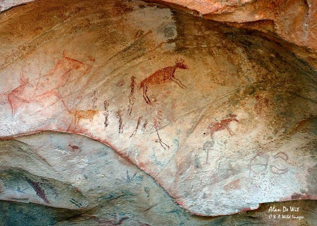 Rock painting of a hunt