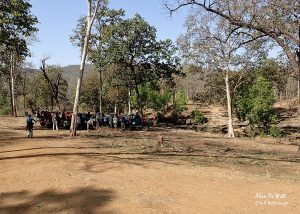 The group gathering at the breakfast stop Satpura National Park
