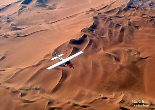 Flying across the Namib desert